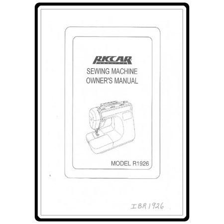Instruction Manual, Riccar R1926