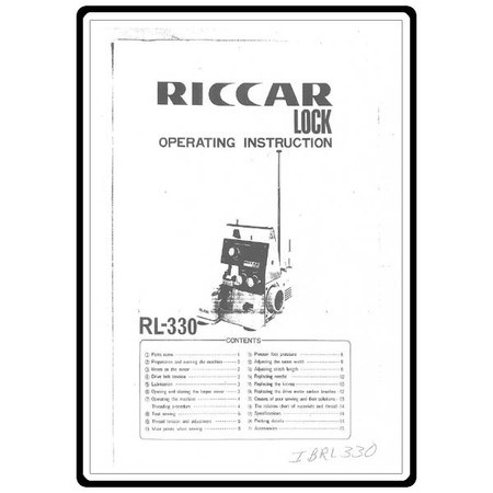 Instruction Manual, Riccar RL330