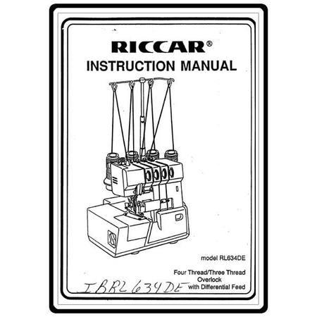 Instruction Manual, Riccar RL634DE