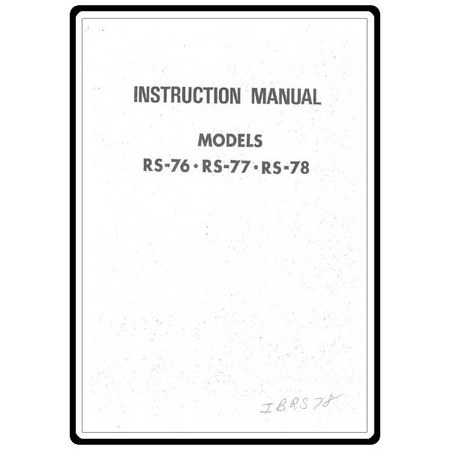 Instruction Manual, Riccar RS78