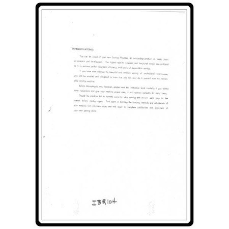 Instruction Manual, Riccar RZ104B