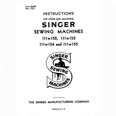 Instruction Manual, Singer 111W155