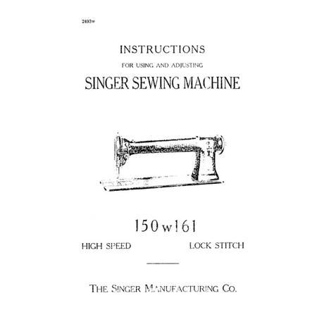 Instruction Manual, Singer 150W161