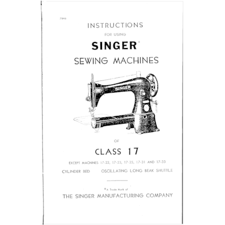 Instruction Manual, Singer 17-12