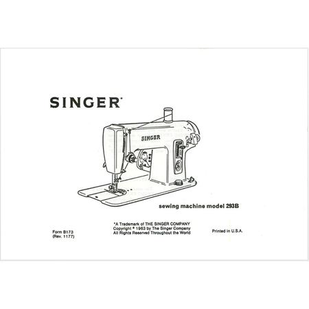 Instruction Manual, Singer 293B