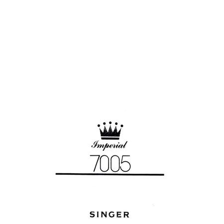 Instruction Manual, Singer 7005