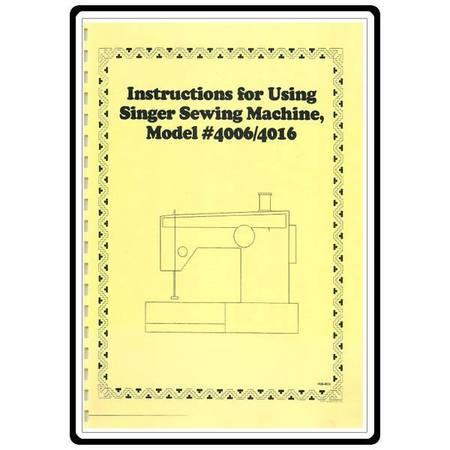 Instruction Manual, Singer 4006