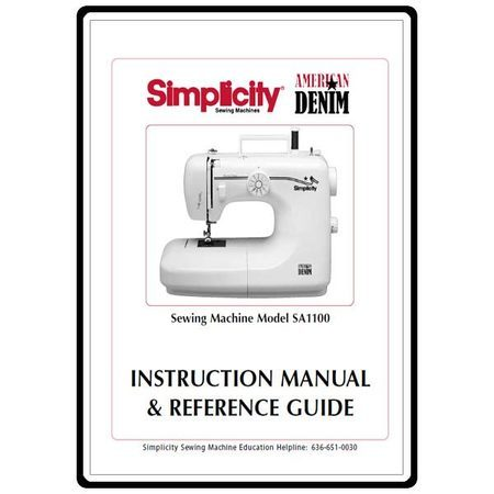 Instruction Manual, Simplicity SA1100