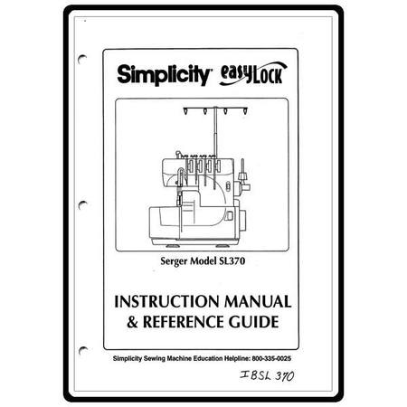 Instruction Manual, Simplicity SL370