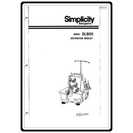 Instruction Manual, Simplicity SL800