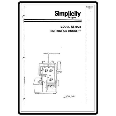Instruction Manual, Simplicity SL850