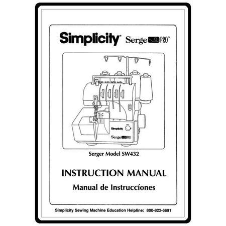 Instruction Manual, Simplicity SW432