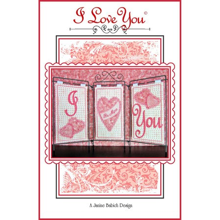 I Love You Embroidery Design CD, Janine Babich Designs