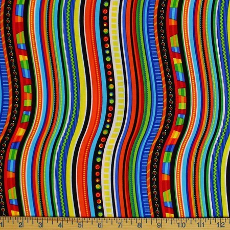 Timeless Treasures, Wavy Stripes, Multi Colored Fabric