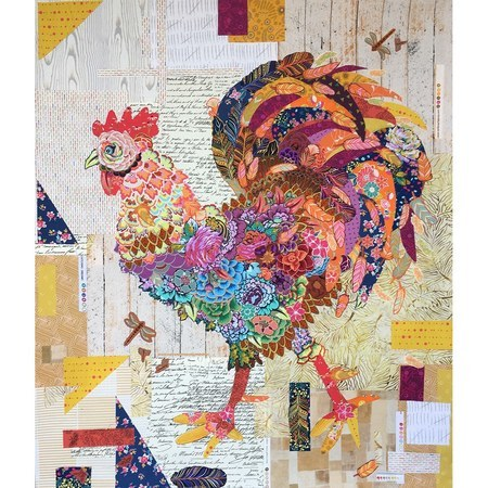 Doodle Doo Rooster Collage Pattern