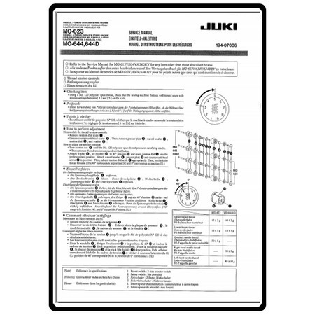 Service Pamphlet, Juki MO-644D