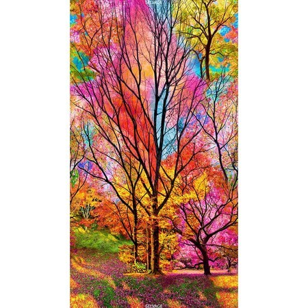 Timeless Treasures, Electric Nature Tree Fabric Panel