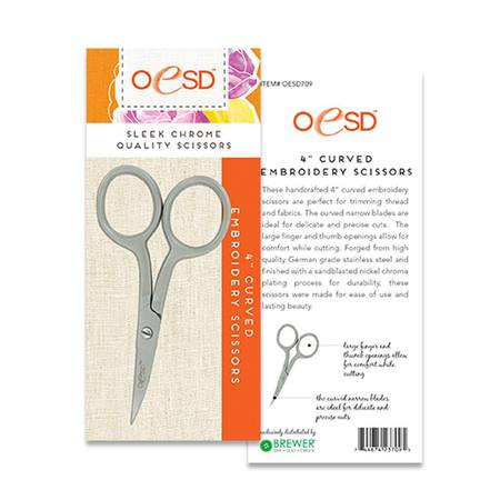 Curved Embroidery Scissors Large Ring 4""
