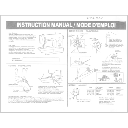 Instruction Manual, Simplicity SL415