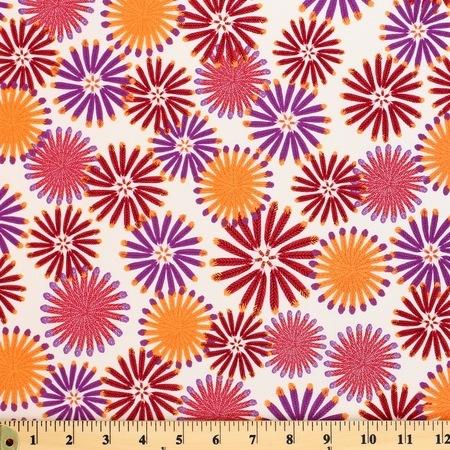 Zandra Rhodes, Feathered, Kaleidoscope, Berry Fabric