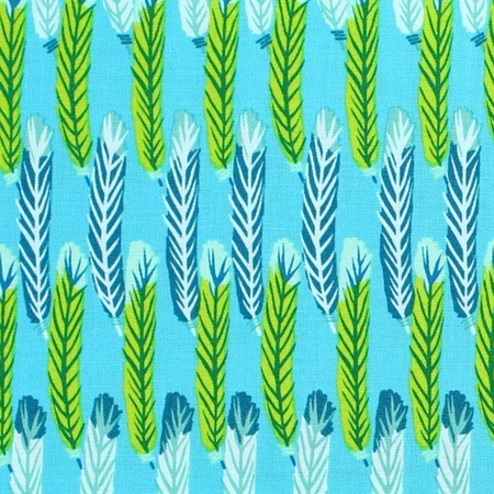 Zandra Rhodes, Feathered, Stripes, Teal Fabric