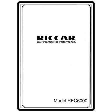 Instruction Manual, Riccar REC6000
