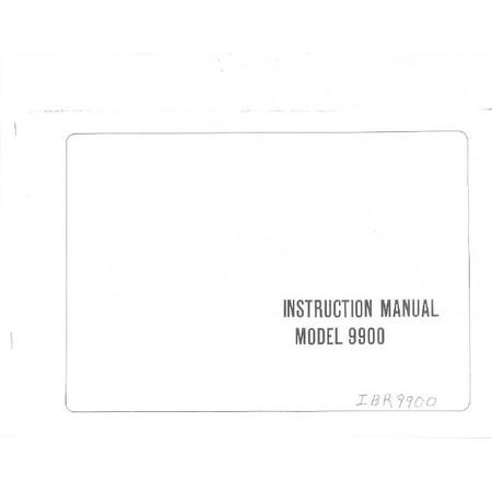 Instruction Manual, Riccar 9900