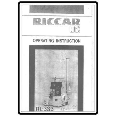 Instruction Manual, Riccar RL333