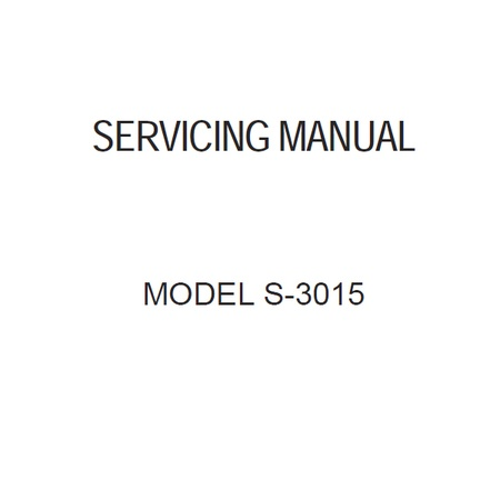 Service Manual, Janome S3015