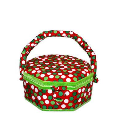 Sewing Basket, Christmas Polka Dots, Small : Sewing Parts Online