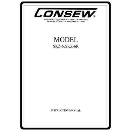 Instruction Manual, Consew SKZ-6R