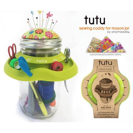 Tutu Mason Jar Sewing Caddy, Green