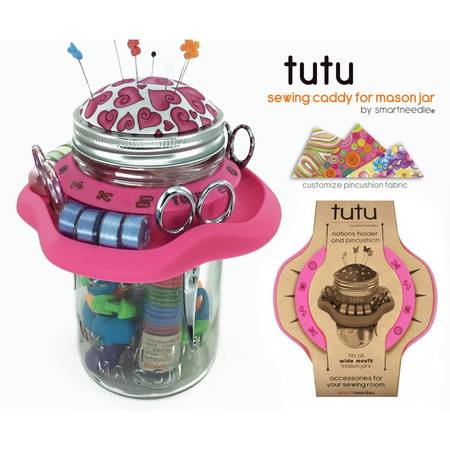 Tutu Mason Jar Sewing Caddy, Pink