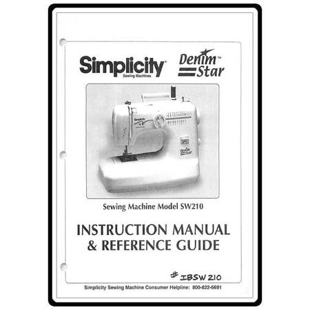 Instruction Manual, Simplicity SW210