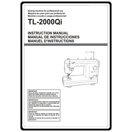Instruction Manual, Juki TL2000Qi