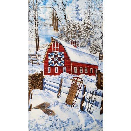 Timeless Treasures, Scenic Winter Barn Fabric Panel