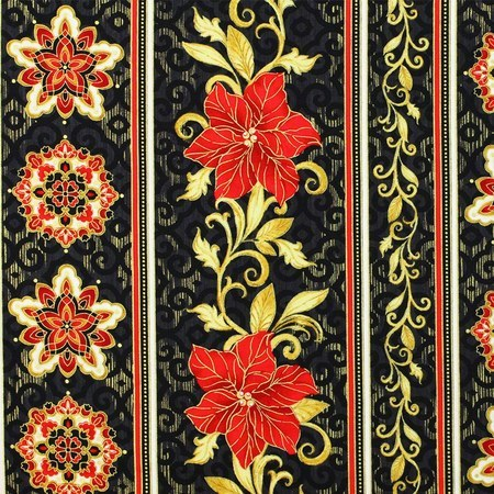 Timeless Treasures, Metallic Poinsettia, Christmas Fabric