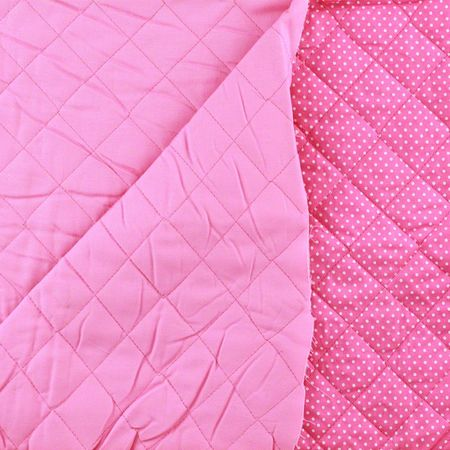Reversible, Pre-Quilted Fabric, Dots and Solid, Pink