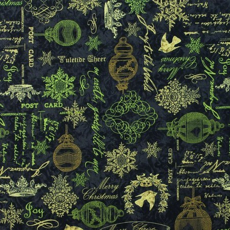 Wilmington, Christmas in Bloom Fabric, Black