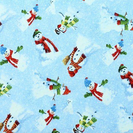 Wilmington, Winter's Eve, Snowmen Fabric, Blue