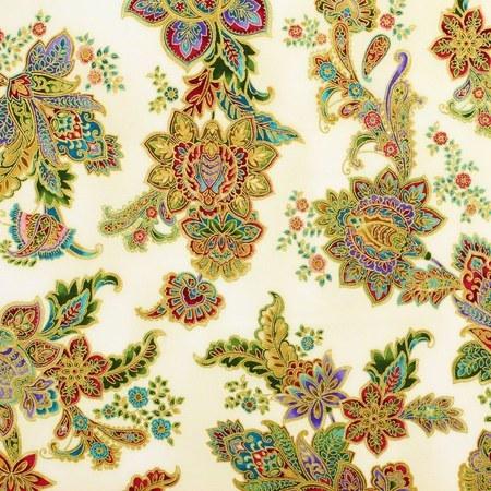 Robert Kaufman, La Scala 7 Metallic Fabric, Ivory