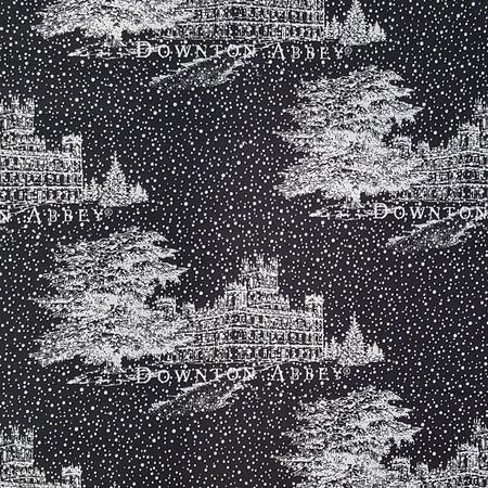 Downton Abbey Christmas Fabric, Black