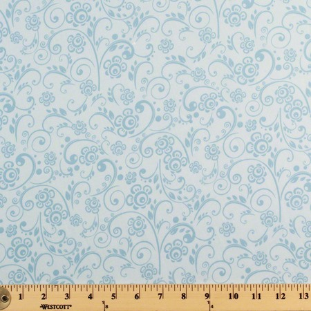 Abstract Floral Quilt Backing Fabric 108in, Light Blue