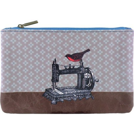 Zippered Pouch - Bird on Sewing Machine