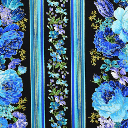 Timeless Treasures, Enchanted, Floral Stripe Fabric, Black