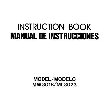 Instruction Manual, Janome ML3023