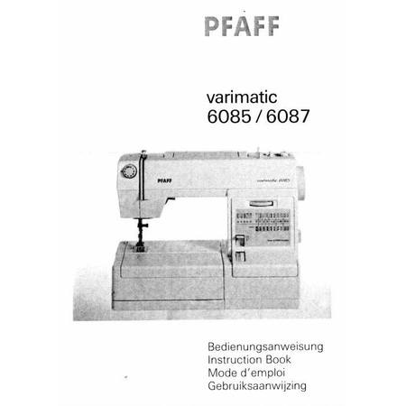 Instruction Manual, Pfaff 6085 Varimatic