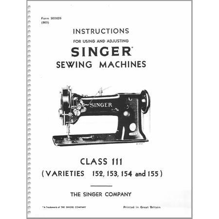 Instruction Manual, Singer 155