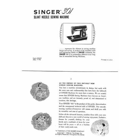 Instruction Manual, Singer 301