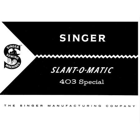Instruction Manual, Singer 403